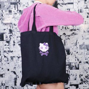 PURPLE GLITTER HELLO KITTY SKULL BLACK BAG by LYUU